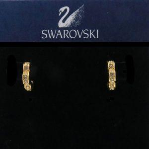 Swarovski Goldtone Scalloped Hoop Crystal Earrings